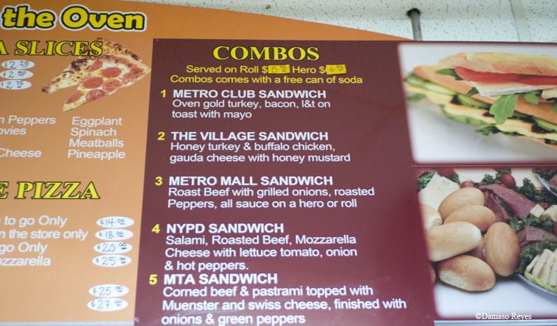 Deli sandwich menu