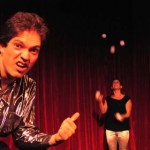 Rod points out Viv juggling five balls at Bindlestiff Palace of Variety