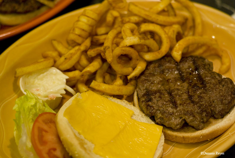 Burger & curly fries