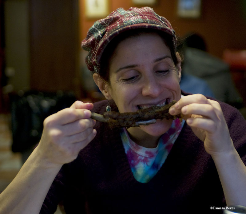 Viveca eating pork