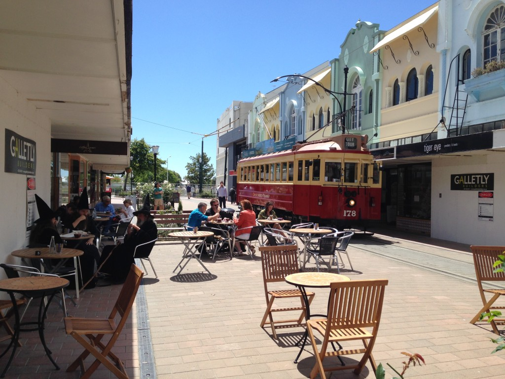 Tram and wizard, Christchurch, NZ
