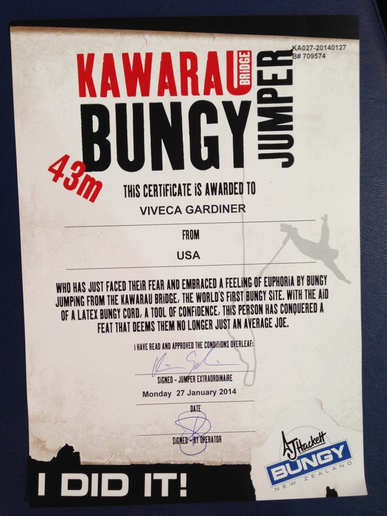Bungy certificate, Kawarau Bridge, NZ