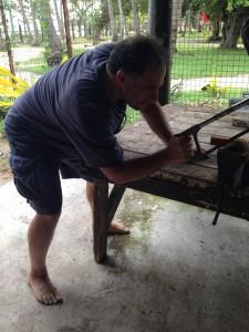 Paul saws coconut.