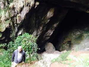Exiting cave