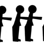 Silhouettes of men point at a silhouette of a woman